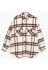 Cropp - Koszula wierzchnia w kratę - Różowy. Kolor: różowy