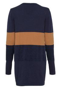 Niebieski sweter bonprix długi, z dekoltem w serek