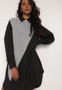 Renee - Czarna Sukienka Pheranassa. Okazja: do pracy, na co dzień. Kolor: czarny. Długość rękawa: długi rękaw. Wzór: aplikacja. Typ sukienki: koszulowe. Styl: casual. Długość: mini