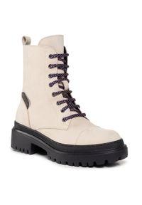 Beżowe buty trekkingowe Pollini klasyczne, z cholewką