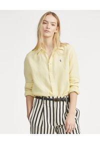 Ralph Lauren - RALPH LAUREN - Koszula z lnu Relaxed Fit. Typ kołnierza: polo. Kolor: żółty. Materiał: len. Długość rękawa: długi rękaw. Długość: długie. Wzór: haft. Styl: klasyczny