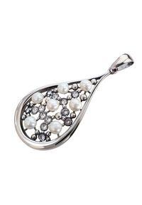 Polcarat Design - Srebrny wisiorek z perłami i kryształami Swarovski W 1959. Materiał: srebrne. Kolor: srebrny. Wzór: aplikacja. Kamień szlachetny: kryształ, perła