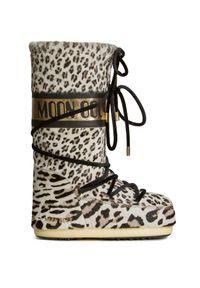 Beżowe buty zimowe Moon Boot z aplikacjami, z cholewką, z cholewką przed kolano