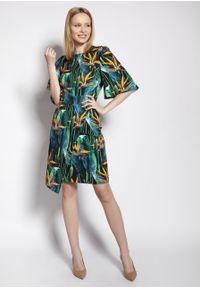 e-margeritka - Sukienka ołówkowa z szerokimi rękawami kwiat bambusa - 36. Materiał: tkanina, materiał, poliester. Wzór: kwiaty. Typ sukienki: ołówkowe. Styl: elegancki. Długość: midi