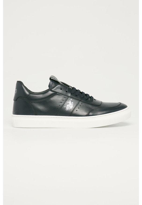 U.S. Polo Assn. - Buty skórzane. Nosek buta: okrągły. Zapięcie: sznurówki. Kolor: niebieski. Materiał: skóra. Szerokość cholewki: normalna