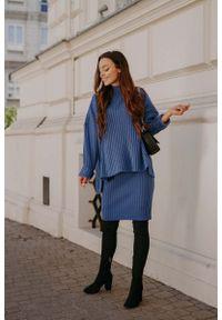 Lemoniade - Komplet - Sweter z Golfem i Dopasowana Spódnica - Jeans. Typ kołnierza: golf. Materiał: jeans