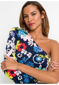 Sukienka one-shoulder bonprix ciemnoniebieski w kwiaty. Kolor: niebieski. Wzór: kwiaty