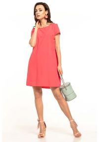 Tessita - Koralowa Kobieca Sukienka z Podwójną Spódnicą. Kolor: pomarańczowy. Materiał: poliester, elastan