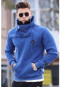 IVET - Męska bluza KLAVDIO BLUE. Okazja: na co dzień. Kolor: niebieski. Materiał: materiał. Wzór: nadruk. Styl: casual, elegancki