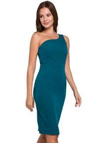 Makover - Elegancka sukienka na jedno ramię z ołówkowym dołem. Okazja: do pracy, na imprezę, na randkę. Typ sukienki: ołówkowe. Styl: elegancki. Długość: midi