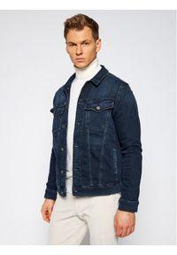 Niebieska kurtka jeansowa Karl Lagerfeld z dekoltem karo