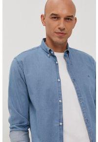 Niebieska koszula Jack & Jones z długim rękawem, gładkie, casualowa, button down