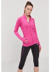 Różowa bluza rozpinana 4f raglanowy rękaw, bez kaptura, gładkie