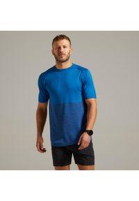 KIPRUN - Koszulka do biegania męska Kiprun Care. Kolor: niebieski. Materiał: poliester, materiał, poliamid. Wzór: ze splotem