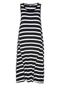 Sukienka midi z dżerseju bonprix czarno-biały w paski. Kolor: czarny. Materiał: jersey. Wzór: paski. Typ sukienki: asymetryczne. Długość: midi