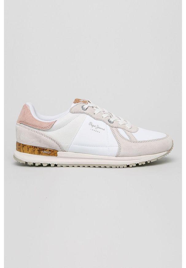 Białe sneakersy Pepe Jeans z okrągłym noskiem, z cholewką