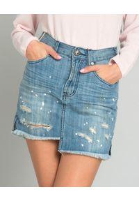 ONETEASPOON - Spódnica jeansowa Original Art. Stan: podwyższony. Kolor: niebieski. Materiał: jeans. Wzór: aplikacja. Styl: sportowy, rockowy