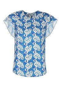 Bluzka Nife elegancka, w kwiaty, z falbankami