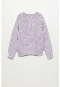 Fioletowy sweter Mango Kids casualowy, na co dzień, melanż