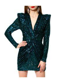 AGGI - Cekinowa sukienka mini. Okazja: na wesele, na ślub cywilny, na imprezę, na karnawał. Kolor: zielony. Długość rękawa: długi rękaw. Długość: mini