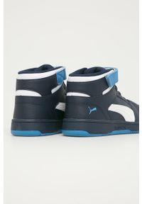 Niebieskie buty sportowe Puma na rzepy, z cholewką