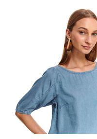 TOP SECRET - Denimowa bluzka z bufiastymi rękawami. Okazja: na co dzień, do pracy. Kolor: niebieski. Materiał: materiał. Sezon: jesień. Styl: casual