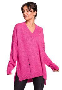 Sweter z długim rękawem, z dekoltem w kształcie v, długi