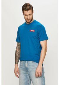 Niebieski t-shirt Prosto. casualowy, z nadrukiem