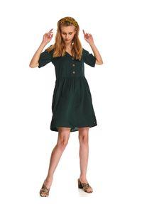 Zielona tunika TOP SECRET w kolorowe wzory, z dekoltem w serek