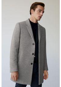Szary płaszcz Mango Man na co dzień, klasyczny, bez kaptura
