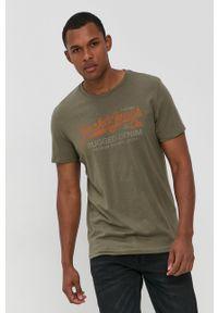 Premium by Jack&Jones - T-shirt bawełniany. Okazja: na co dzień. Kolor: zielony. Materiał: bawełna. Wzór: nadruk. Styl: casual