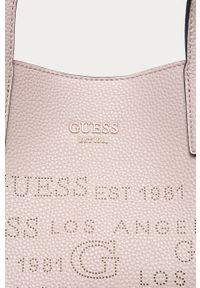 Różowa shopperka Guess Jeans duża, na ramię