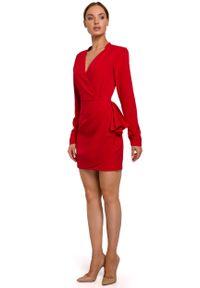 MOE - Czerwona Krótka Sukienka z Drapowaną Falbanką na Boku. Kolor: czerwony. Materiał: poliester, elastan. Długość: mini