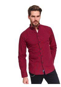 TOP SECRET - Koszula w drobną kratkę dopasowana. Kolor: czerwony. Materiał: bawełna. Wzór: kratka. Styl: klasyczny