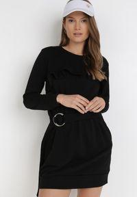Born2be - Czarna Sukienka Wesviraz. Kolor: czarny. Materiał: materiał. Długość rękawa: długi rękaw. Długość: mini