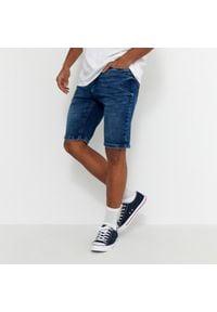 House - Szorty jeansowe z efektem sprania - Granatowy. Kolor: niebieski. Materiał: jeans