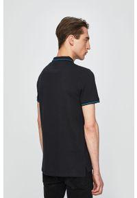 Czarna koszulka polo Lee casualowa, krótka, z aplikacjami, polo