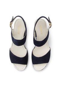 Niebieskie sandały Gabor na obcasie, na średnim obcasie