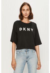 Czarna bluzka DKNY casualowa, z aplikacjami
