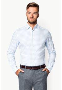 Lancerto - Koszula Błękitna w Kratę Kern. Kolor: niebieski. Materiał: tkanina, bawełna. Wzór: kratka, haft