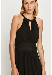 Vila - Sukienka. Kolor: czarny. Materiał: tkanina, koronka. Typ sukienki: rozkloszowane