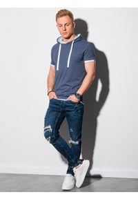 Niebieski t-shirt Ombre Clothing melanż, z kapturem