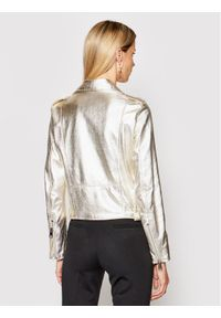 Imperial Kurtka skórzana V3025400 Srebrny Slim Fit. Kolor: srebrny. Materiał: skóra