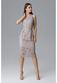 e-margeritka - Koronkowa ołówkowa sukienka bez rękawów beżowa - s. Okazja: na wesele, na sylwestra, na imprezę, na ślub cywilny. Kolor: beżowy. Materiał: koronka. Długość rękawa: bez rękawów. Wzór: aplikacja, koronka. Typ sukienki: ołówkowe. Styl: elegancki