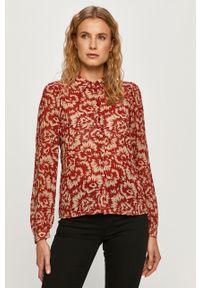 Czerwona koszula Vila długa, w kwiaty