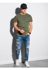 Ombre Clothing - T-shirt męski bawełniany S1375 - khaki - XXL. Kolor: brązowy. Materiał: bawełna. Wzór: aplikacja. Sezon: lato, wiosna
