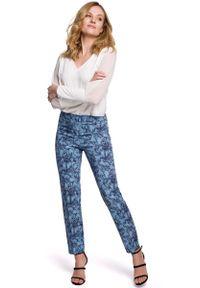 MOE - Eleganckie Spodnie Cygaretki w Kwiaty - Model 1. Materiał: poliester, elastan. Wzór: kwiaty. Styl: elegancki