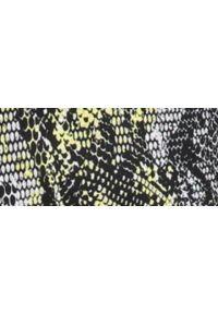 TOP SECRET - Printowane spodnie damskie. Okazja: na co dzień. Kolor: żółty. Materiał: tkanina. Wzór: gładki. Sezon: jesień, zima. Styl: elegancki, casual