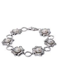 Polcarat Design - Bransoletka srebro perełki L 1565. Materiał: srebrne. Wzór: kwiaty. Kamień szlachetny: perła