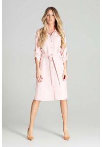 Różowa sukienka Figl koszulowa #1